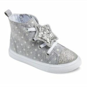 Cat and Jack High Top Gray and Silver Sneaker